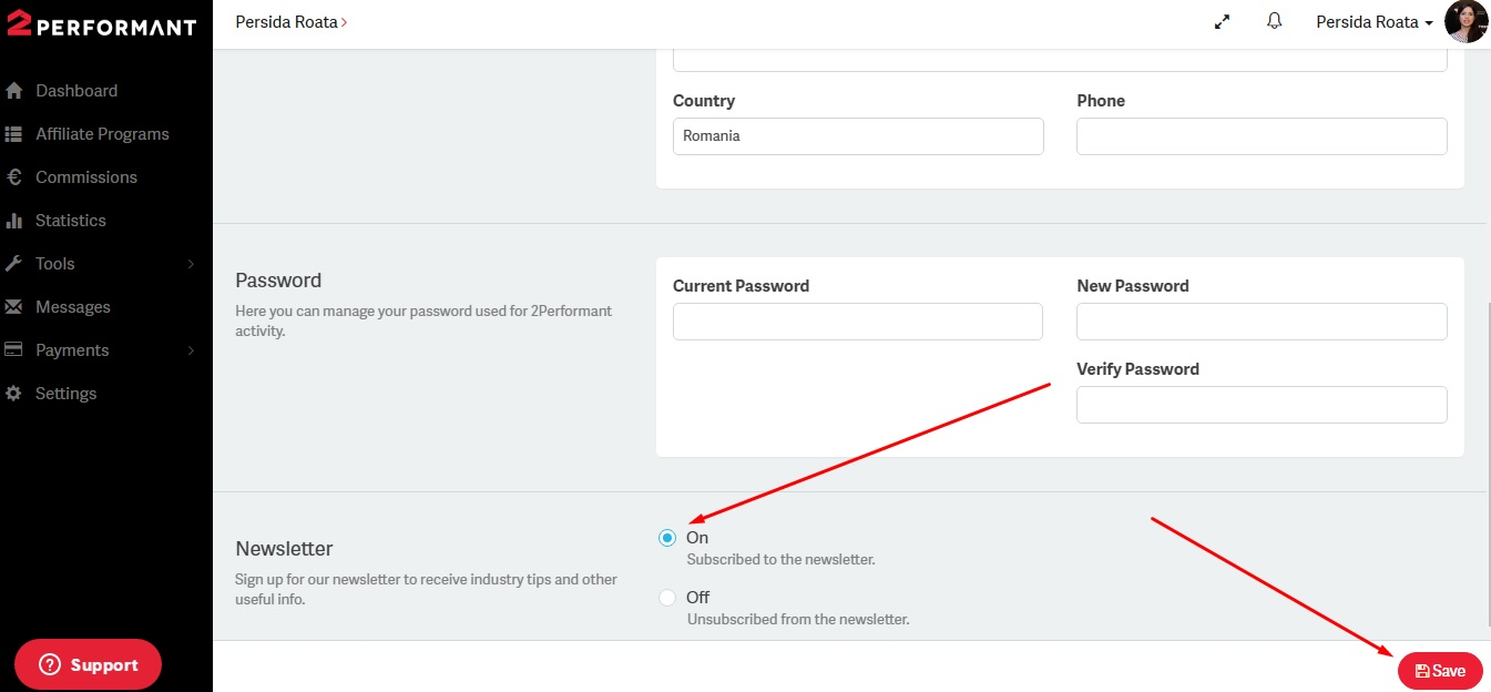 screenshot signup - subscribing to the 2Performant newsletter